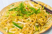 pic of green bean  - Noodles fried with bean sprouts green bell pepper and green onions