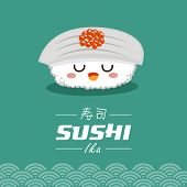 foto of sushi  -  Vector sushi cartoon character illustration - JPG
