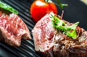 picture of grill  - Grilled Beef steak with vegetable decoration - JPG