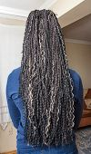 foto of braids  - model with black and light beige colors kanekalon material African braids on the hair - JPG