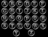 stock photo of fingerprint  - Black Button Alphabet (Hand created) - Black web buttons with fingerprint style letters  - JPG