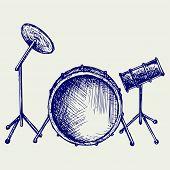 stock photo of drum-set  - Drum set - JPG