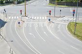 picture of intersection  - Empty Urban Intersection without Traffic at Midday - JPG