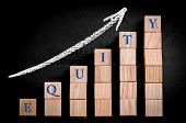 stock photo of ascending  - Word SUCCESS on ascending arrow above bar graph of Wooden small cubes isolated on black background - JPG