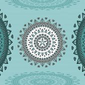 stock photo of indian blue  - Circular ornament on marine blue Background for design elements  or for decoration  interior in east or in Indian or in Arabic style or for decorate different things - JPG