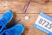 stock photo of medal  - Pair of running shoes - JPG