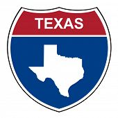 picture of texas map  - Texas American interstate highway road shield isolated on a white background - JPG