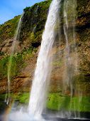 picture of waterfalls  - Seljalandsfoss is a 60 metres  - JPG