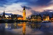 picture of big-ben  - Big Ben and Houses of parliament at dusk London UK