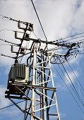 picture of transformer  - Detailed view of modern voltage transformer day - JPG