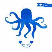 stock photo of octopus  - Blue octopus illustration - JPG