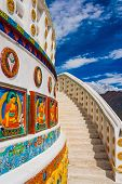 stock photo of stairway  - Shanti Stupa in Leh Buddhist monument Stairway to Heaven Ladakh India - JPG