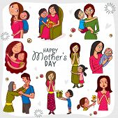 foto of special day  - Creative set showing different roles and gestures of a mom on occasion of Happy Mother - JPG