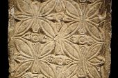 foto of pilaster  - Marble carved with geometrical drawings from visogoth pilaster - JPG