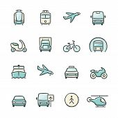 picture of vespa  - Hand drawn blue and beige transport icons - JPG