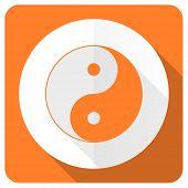image of ying-yang  - ying yang orange flat icon   - JPG