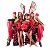 stock photo of traditional dress  - dancer team wearing in traditional flamenco dresses - JPG