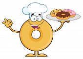 pic of donut  - Donut Cartoon Character Wearing A Chef Hat And Serving Donuts - JPG