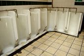 picture of urinate  - Dirty public gentlemen toilet with row of urinals - JPG
