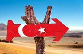 picture of mesopotamia  - Turkey Flag wooden sign with desert background - JPG