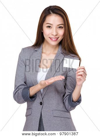 Businesswoman show with blank of namecard