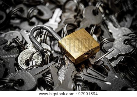 a bunch of keys and unlock security lock