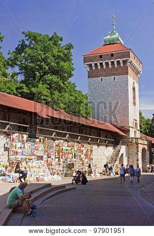 Krakow, Poland - August 1, 2015: Saint Florian S Gate On 1 Augus