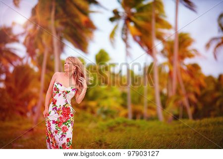 Beautiful Young Girl In Tropical Palm Grove, Summer Breeze