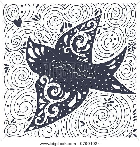Hand Drawn Vintage Label With Swallow Bird And Decoration