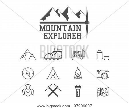 Camping mountain explorer camp badge, logo template. Travel, hiking, climbing line icons. Thin and o