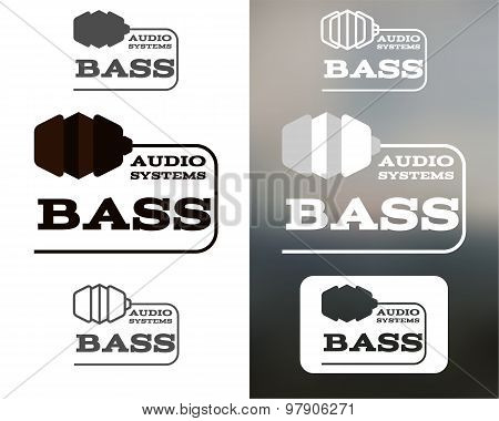 Music audio systems logo, badge, label, logotype, icon. Bass element. Headphones design. In monochto