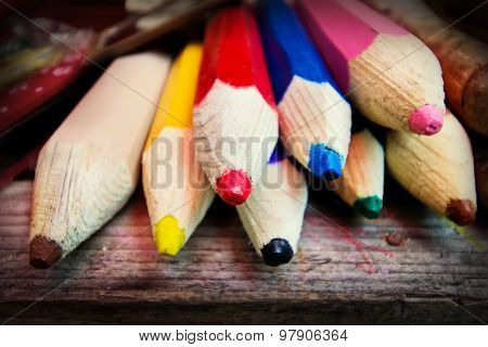 Giant Colour Pencils On A Table