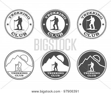 Set of monochrome outdoor adventure explorer camp badge, logo and label templates. Trekking club. Be