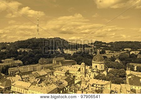 Lviv In Ukraine Central District Skyline, Sepia