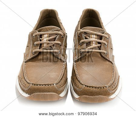 Brown men shoes isolated on white background.