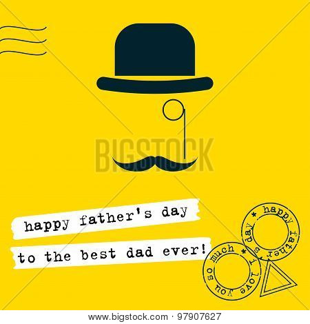 Father's Day Greeting Card Background. Conceptual Grahpic Illustration With Hat