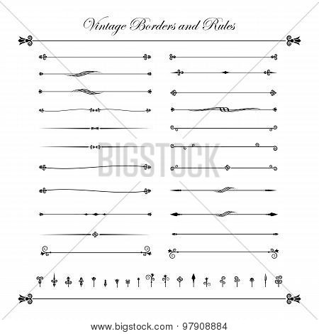 Collection Of Decorative Line Elements, Border And Page Rules Vector Illustration 004