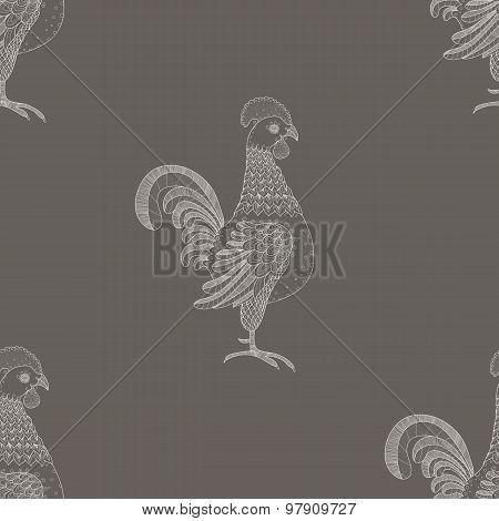 Ornamental Cockerel background. Vector seamless pattern. Vintage