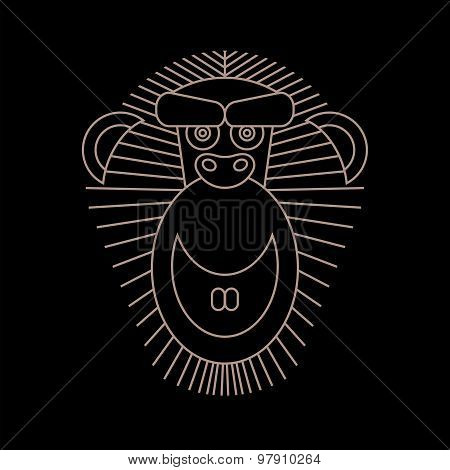 Chinese Horoscope 2016 - Year Of The Monkey. Vector Monkey in ou