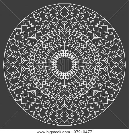 Hand Drawn Ornamental Ethnic Round. Handmade Abstract Artwork Pattern Background
