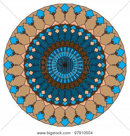 Hand Drawn Ethnic Ornamental Round Abstract Background With Many Details