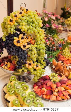 Fruits on banquet table, catering