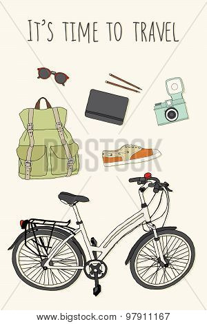 Set of traveler's stuff: backpack, glasses, notebook and pencils, camera, shoes, city bike.