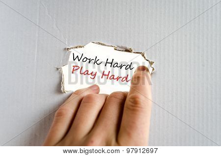 Work Hard Play Hard Text Concept