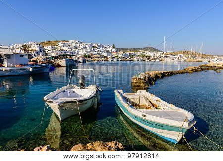 The picturesque harbour with fishing boats