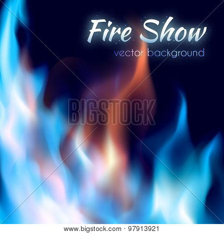 Fire show poster. Abstract red and blue burning fire flames