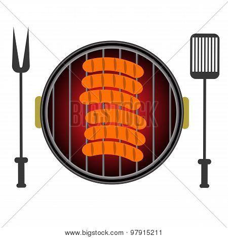 Grill Icon Isolated on White Background