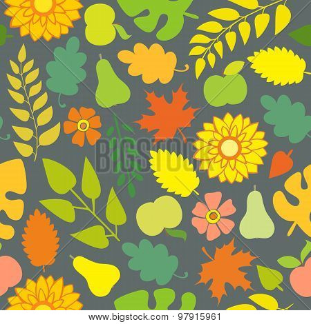 Autumn Pattern With Flowers And Foliage On A Gray Background
