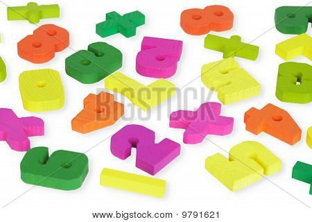 Multi-colored Wooden Toy Figures On White