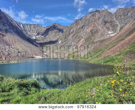 Mountain Lake Located Between The Slope Of The Peak